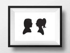 תמונת צלליות משפחתית | תמונה מעוצבת לבית | מתנה לחתונה | מתנה ליום האהבה | סטודיו נעמה מגשימת מתנות